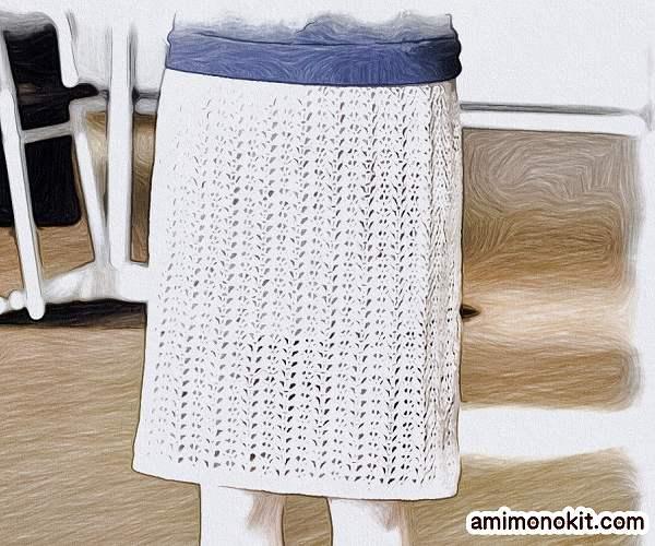 無料編み図スカートかぎ針編みレース透かし模様のタイトスカート2