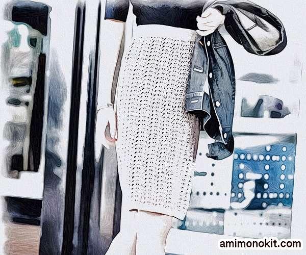 無料編み図スカートかぎ針編みレース透かし模様のタイトスカート3