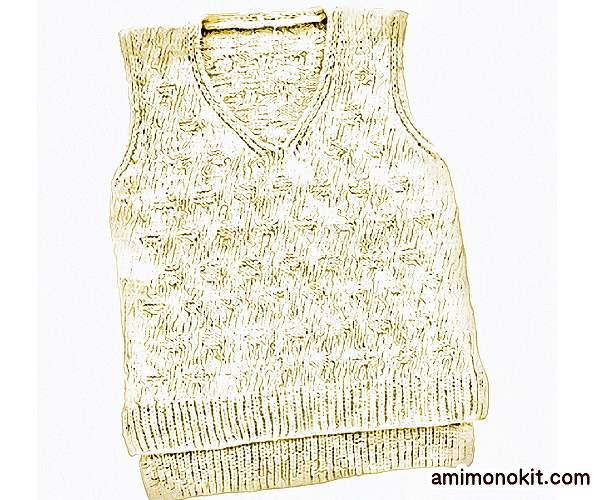 無料編み図ベスト綿糸サマーセーター水玉柄シンプル3
