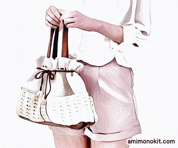 無料編み図巾着バッグかぎ針編みポケット付きプレゼント贈り物1