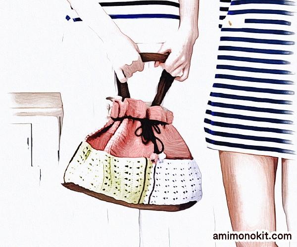 無料編み図巾着バッグかぎ針編みポケット付きプレゼント贈り物2