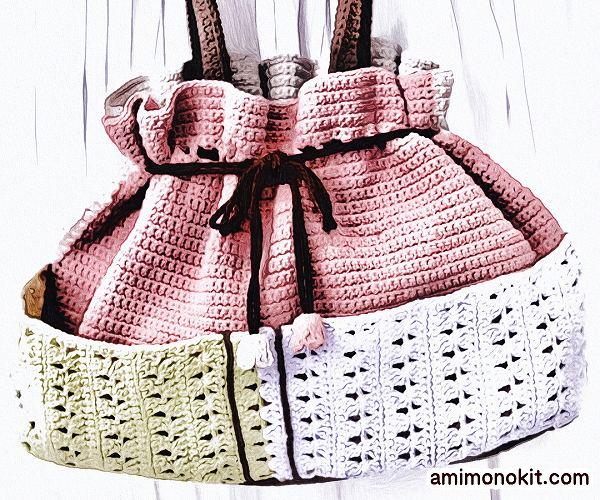 無料編み図巾着バッグかぎ針編みポケット付きプレゼント贈り物3