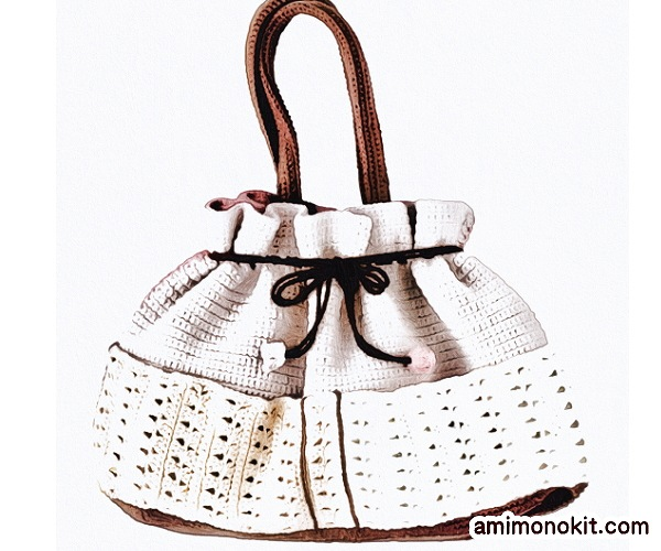 無料編み図巾着バッグかぎ針編みポケット付きプレゼント贈り物4