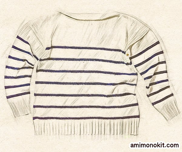 無料編み図プル棒針編みフレンチボーダーのサマーセーター3