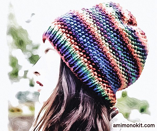 無料編み図帽子ニットキャップお揃いペア鹿の子編み棒針簡単3