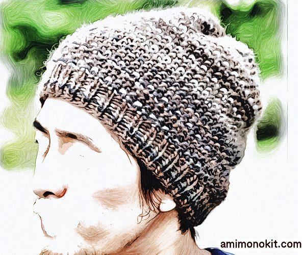 無料編み図帽子ニットキャップお揃いペア鹿の子編み棒針簡単4