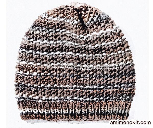 無料編み図帽子ニットキャップお揃いペア鹿の子編み棒針簡単5