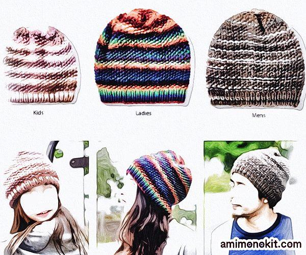 無料編み図帽子ニットキャップお揃いペア鹿の子編み棒針簡単7