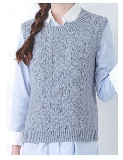 無料編み図ポームリリーフルーツ染め地模様と縄編みのシンプルベスト