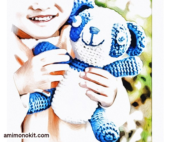 無料編み図あみぐるみパンダ可愛い子供向け編みぐるみ1