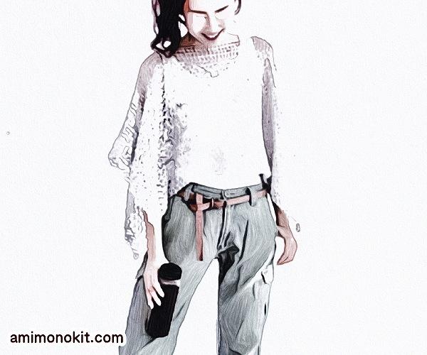 無料編み図ポンチョはおり手編みリネン麻ラミースリット2