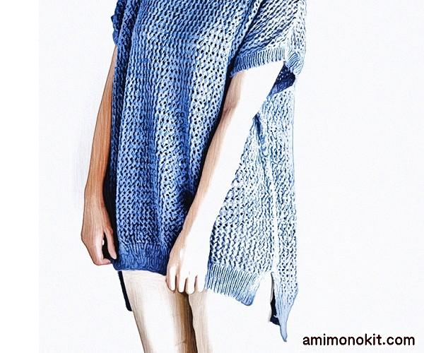 無料編み図サマーセーター半そで透かし模様ざっくり簡単3