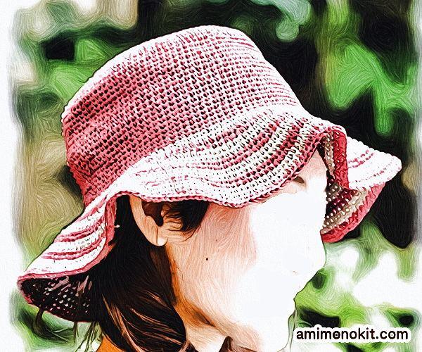 無料編み図帽子つば広ハット女優帽和紙フリル帽2