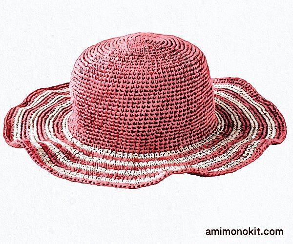 無料編み図帽子つば広ハット女優帽和紙フリル帽3