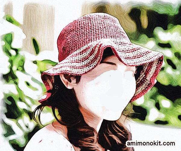 無料編み図帽子つば広ハット女優帽和紙フリル帽4