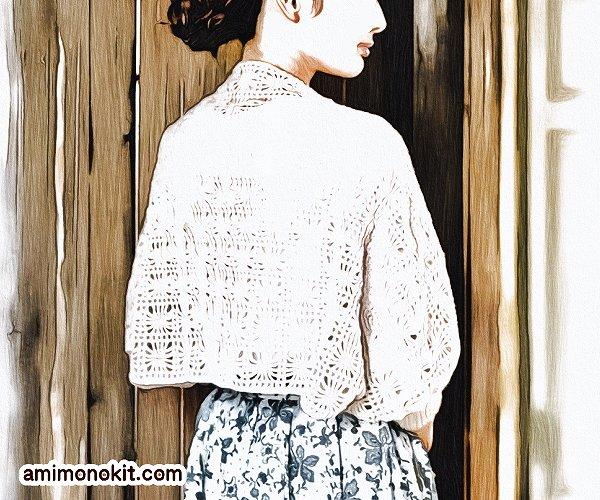 無料編み図マーガレットかぎ針編みカーディガンモチーフつなぎ3