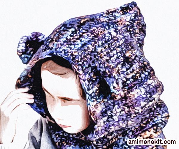 無料編み図カグール棒針編みベアくまさんキッズ防寒手編み1