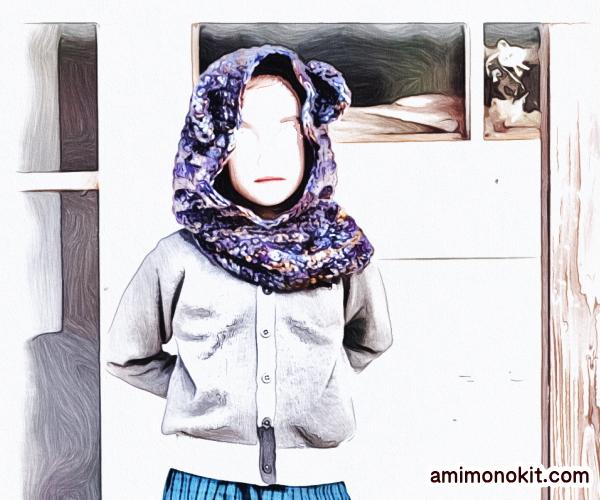 無料編み図カグール棒針編みベアくまさんキッズ防寒手編み2