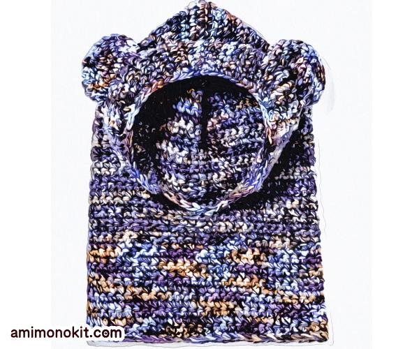 無料編み図カグール棒針編みベアくまさんキッズ防寒手編み3