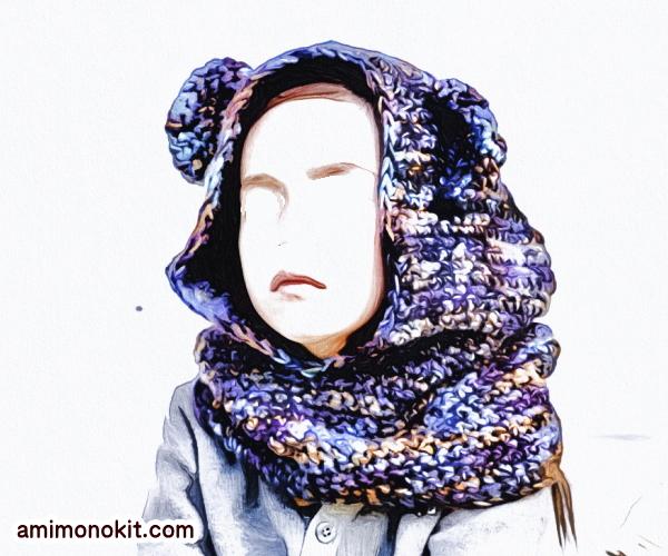 無料編み図カグール棒針編みベアくまさんキッズ防寒手編み4