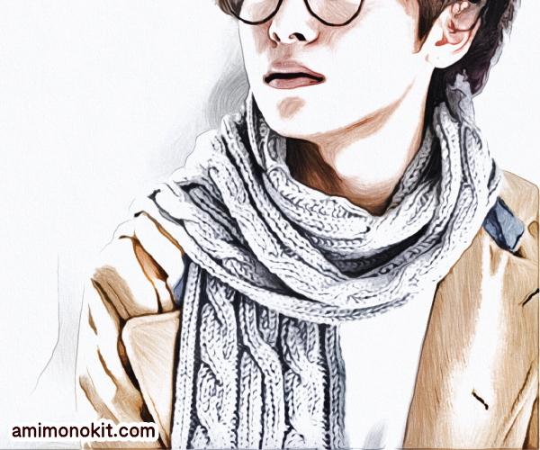無料編み図マフラー棒針編みケーブル模様プレゼント贈り物1
