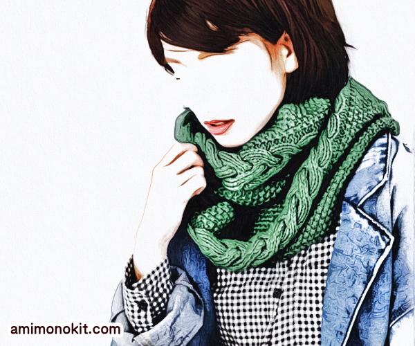 編み物キット手編みスヌード棒針編みファインメリノ毛糸1