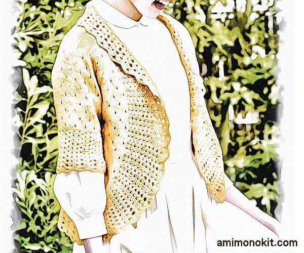 無料編み図ボレロ棒針編み五分袖春ラグラン袖2