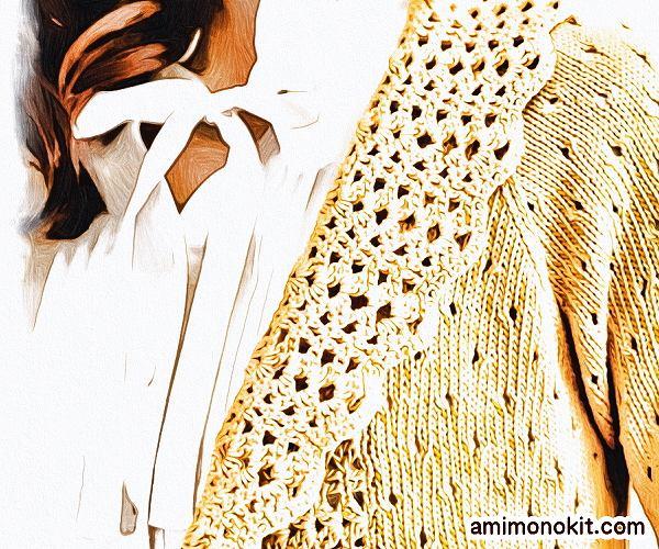 無料編み図ボレロ棒針編み五分袖春ラグラン袖3