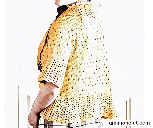無料編み図ボレロ棒針編み五分袖春ラグラン袖4