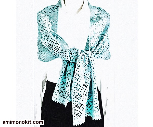 無料編み図ショールかぎ針編み花模様と方眼編み透かし編み1