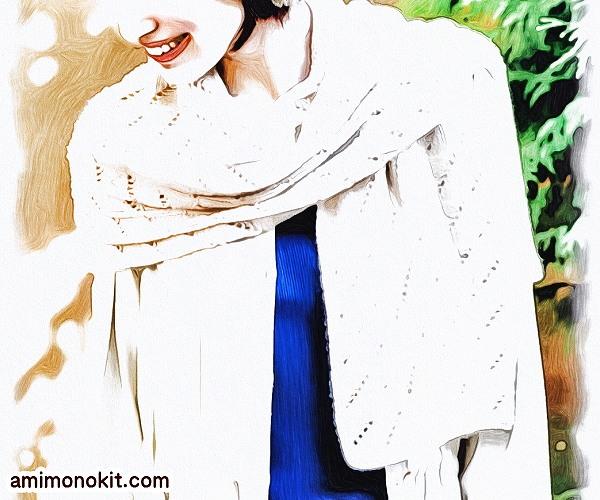 無料編み図ショール大判ストール棒針編み透かし模様カシミヤ2