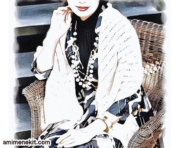 無料編み図ショール大判ストール棒針編み透かし模様カシミヤ3