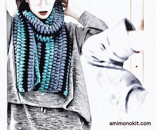 無料編み図マフラーボリューム玉編み可愛いロングふわふわ5
