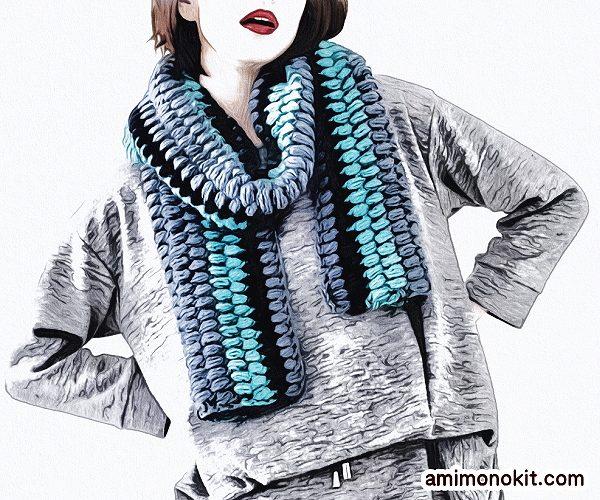 無料編み図マフラーボリューム玉編み可愛いロングふわふわ1
