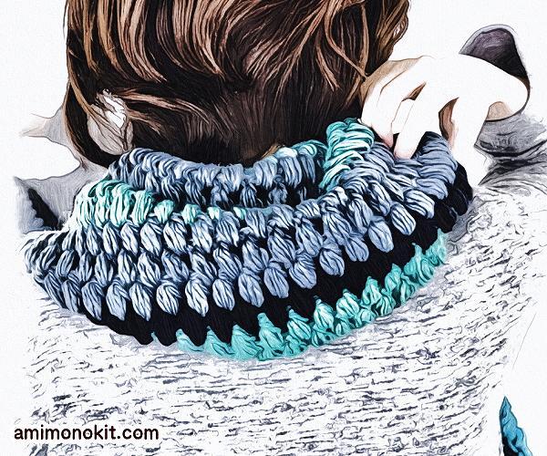無料編み図マフラーボリューム玉編み可愛いロングふわふわ2
