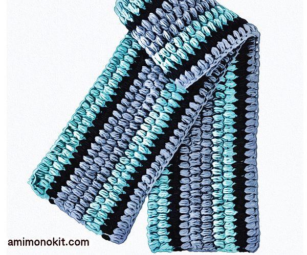 無料編み図マフラーボリューム玉編み可愛いロングふわふわ3