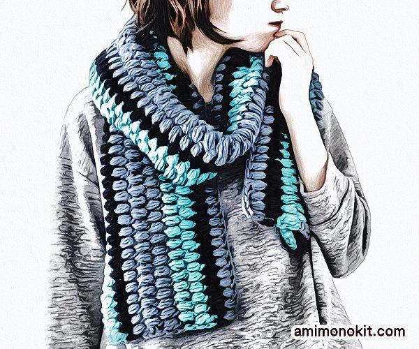 無料編み図マフラーボリューム玉編み可愛いロングふわふわ4