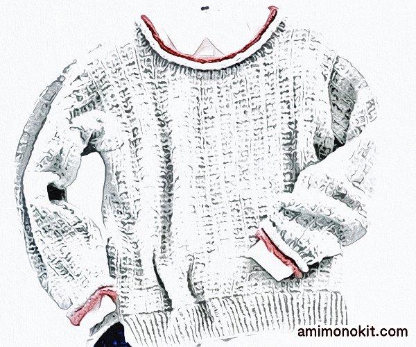 無料編み図セーター棒針編み柔らかなロールネックふわっと軽い1