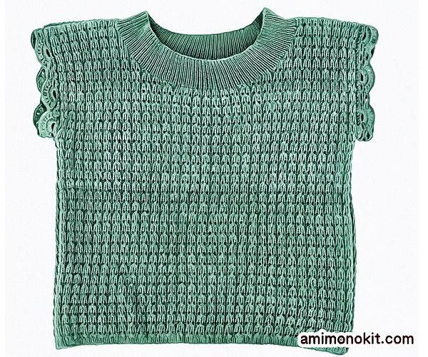 無料編み図ベスト棒針編み透かし模様キャップスリーブセーター3
