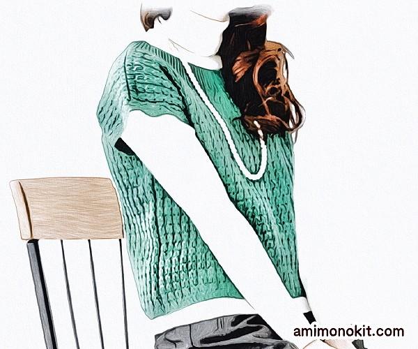 無料編み図ベスト棒針編み透かし模様キャップスリーブセーター1