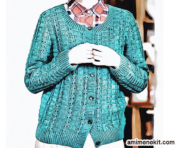 無料編み図カーディガン棒針編みレトロ簡単シンプル合わせやすい5