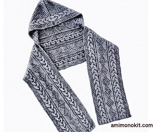 無料編み図フード付きマフラー大人棒針暖かい可愛い模様編み4