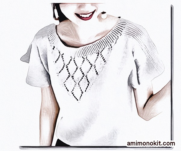 無料編み図フレアスリーブプル棒針編みベストコットンウール5
