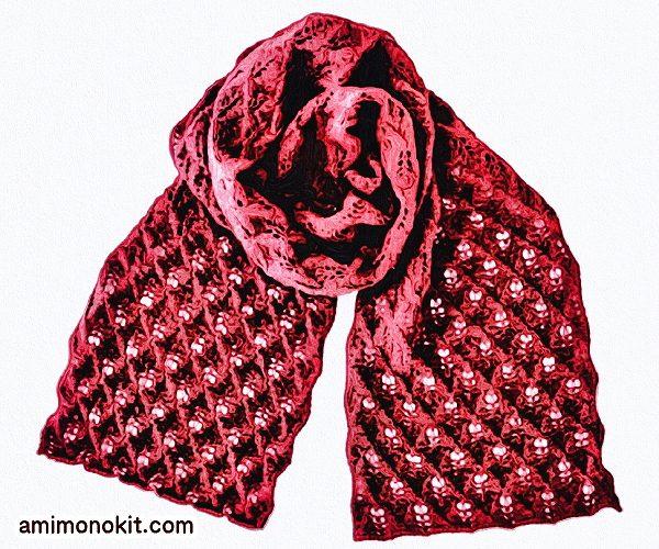 無料編み図ショール透かし模様巻ける棒針編み繊細3