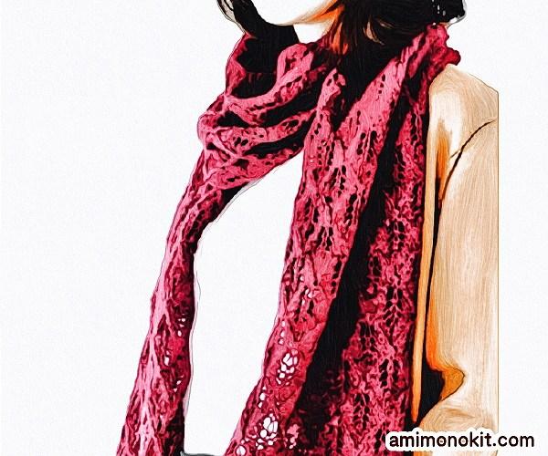 無料編み図ショール透かし模様巻ける棒針編み繊細1