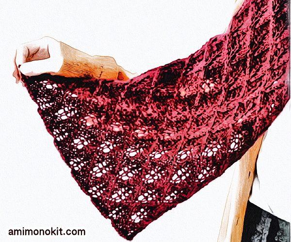 無料編み図ショール透かし模様巻ける棒針編み繊細2