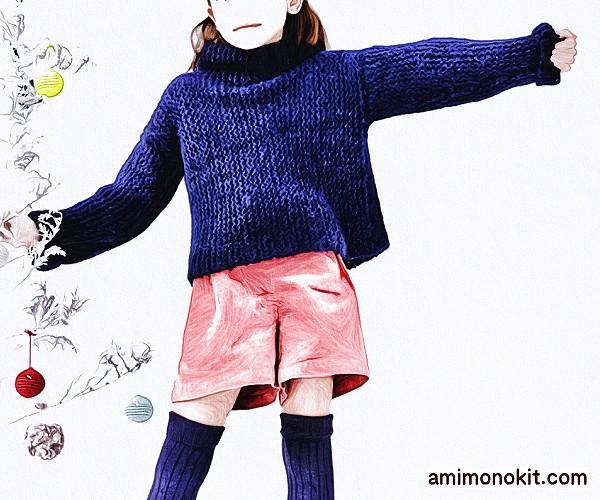 無料編み図セーター親子ペア棒針編みゆったりシルエットハイネック2