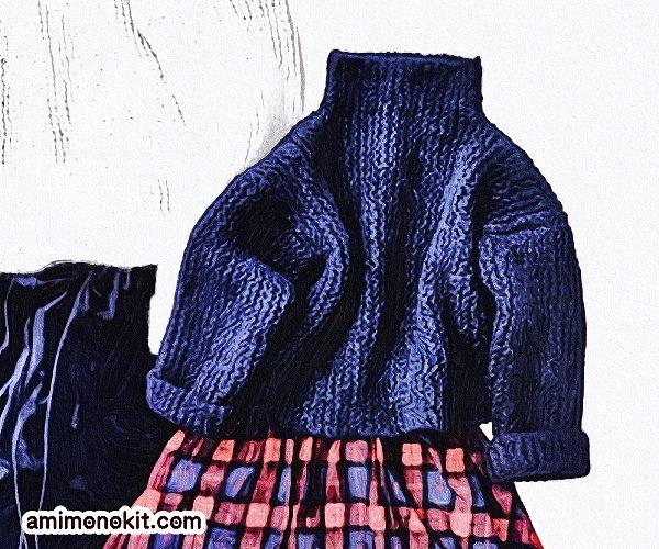 無料編み図セーター親子ペア棒針編みゆったりシルエットハイネック3