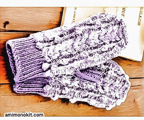 無料編み図2wayミトン棒針編み贈り物プレゼント3