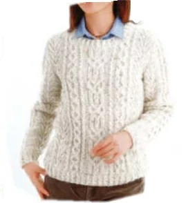 ハマナカアランツィードプルオーバー編み物キット棒針編みH144-062
